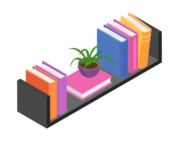 Estantería con libro de volumen, folleto y biblioteca personal