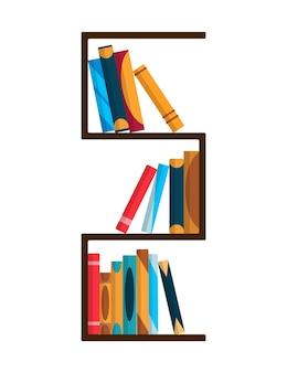 Estantería con libros coloridos. concepto de pared de estudio de regreso a la escuela y la educación. elemento interior de biblioteca. ilustración de libros de lectura plana