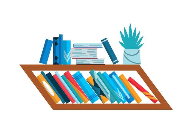 Estantería con libros coloridos. concepto de pared de estudio de regreso a la escuela y la educación. interior de la biblioteca