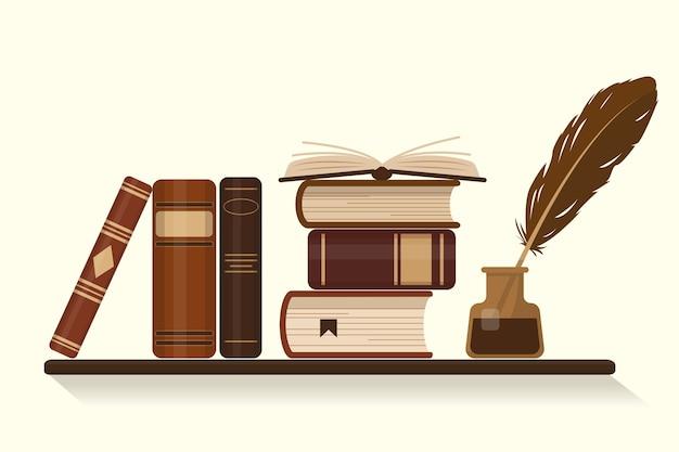 Estantería con libros marrones antiguos o históricos y tintero con pluma de ganso. ilustración.
