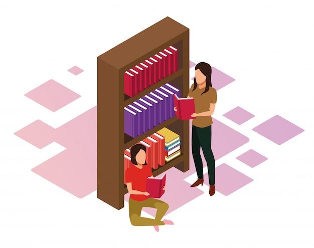 Estantería y mujeres leyendo un libro sobre fondo blanco, colorido isométrico