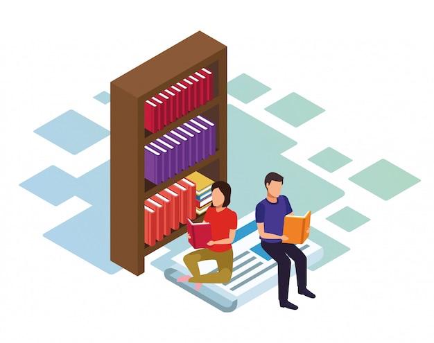 Estantería y pareja leyendo libros sobre fondo blanco, colorido isométrico