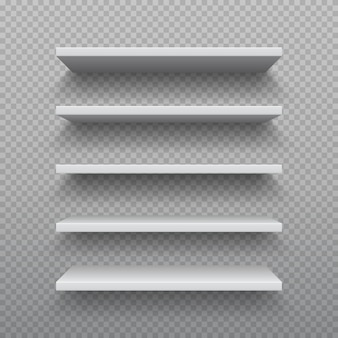 Estantería realista. estante de pared vacío de madera contrachapada blanca, muebles modernos de madera dura, juego de estantes comerciales en 3d