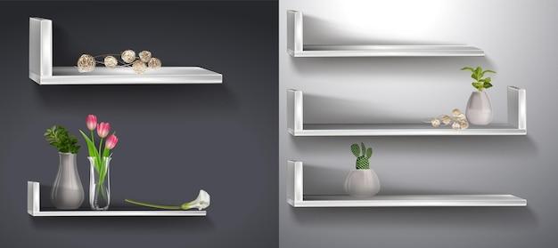 Estantería realista con flores estante de pared vacío de madera contrachapada blanca