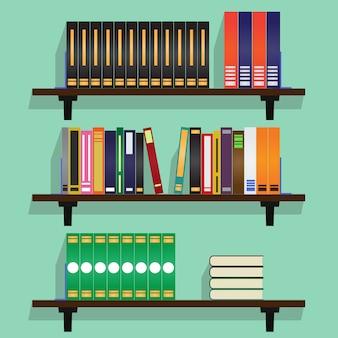 Estanterías con fila de libros vector illustration