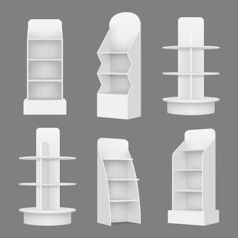 Estanterías vacías. estantes de exhibición minorista del mercado de comercialización en ilustración realista de vector de supermercado
