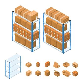 Estantes de almacén vacíos, llenos y cajas de cartón con vista isométrica