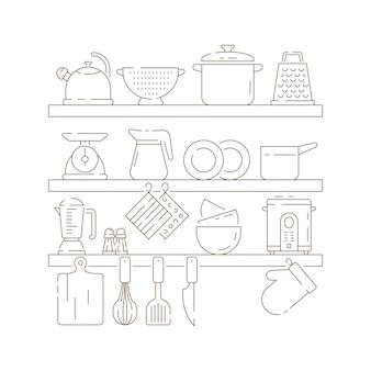Estantes de cocina. artículos de cocina ollas cuchara tenedor cuchillo sartenes vector delgada composición lineal