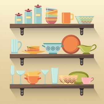 Estantes de cocina con vajilla colorida.