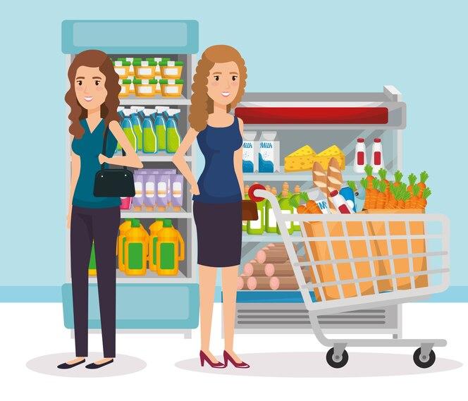 Estantes de supermercados con personas comprando