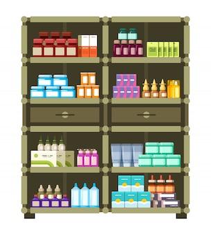 Estantes de farmacia con caja médica y botellas para concepto plano de drogas