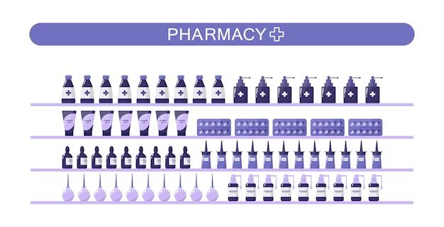 Estantes de farmacia moderna con medicamentos y medicamentos. concepto de tratamiento médico y sanitario.