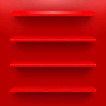 Estantes gorizontal en la pared roja para el diseño