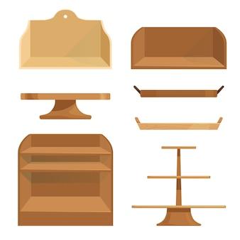 Estantes de madera, cajones y soportes para almacenar artículos o exhibir productos.