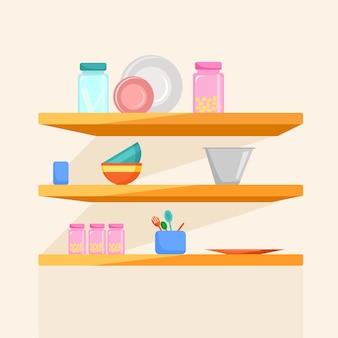 Estantes de madera con ilustración de vector de utensilios de cocina en estilo de dibujos animados