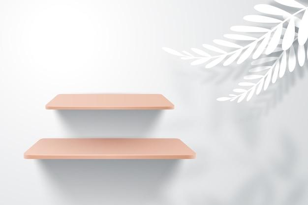 Estantes de madera en pared blanca con hoja blanca