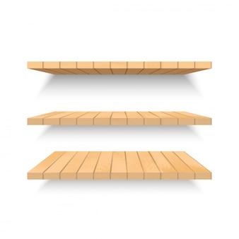 Estantes de madera en la pared con sombra suave. vector