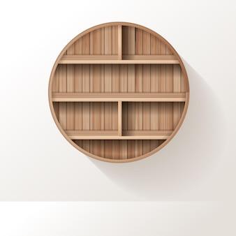Los estantes de madera simulan el diseño del estante vacío en el fondo de la pared