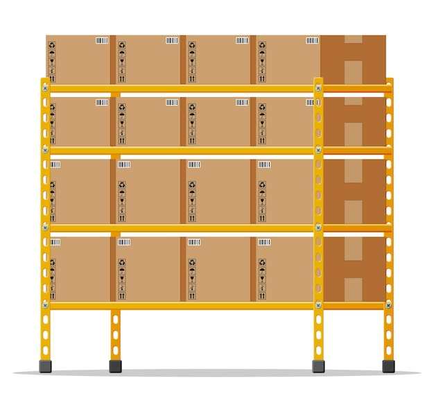 Estantes metálicos con cajas de cartón marrón. paquete de mercancías y contenedores. pila de cajas de cartón. envase de entrega caja cerrada con signos frágiles. ilustración de vector de estilo plano