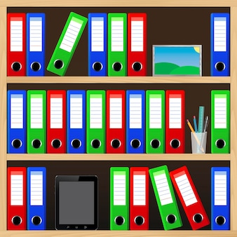 Estantes de oficina con diferentes registros.