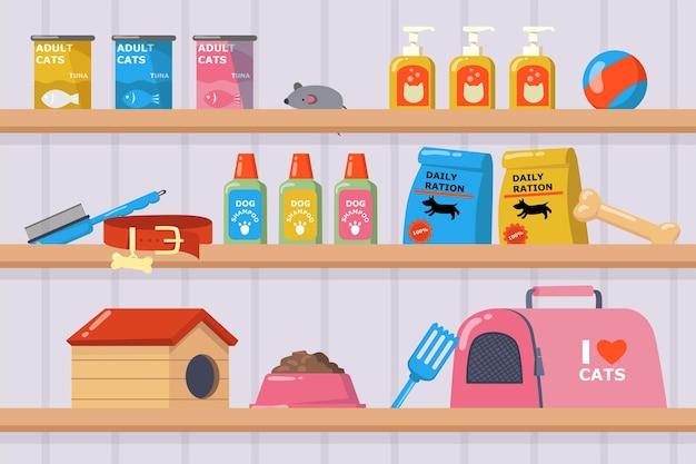 Estantes con productos en la ilustración de la tienda de mascotas