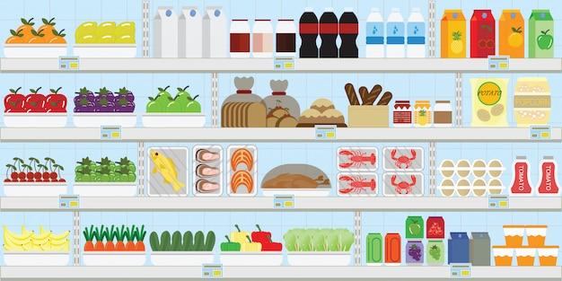 Estantes de supermercado con comida.