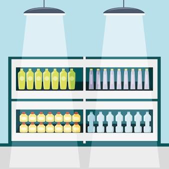 Estantes del supermercado con diseño colorido icono de productos