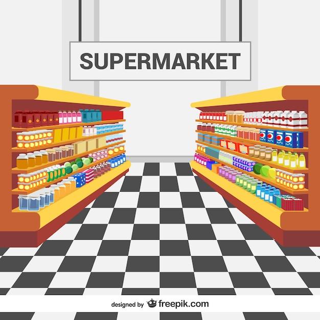 Estantes en el supermercado