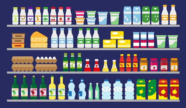 Estantes de supermercados con comida y bebidas.
