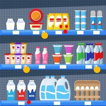 Estantes de supermercados de estilo catroon plano cargados de productos
