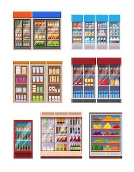 Estantes de supermercados de estilo catroon plano y refrigeradores cargados con productos