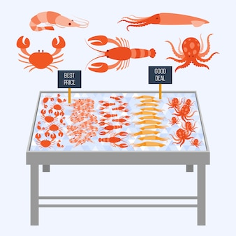 Estantes de supermercados con mariscos frescos.