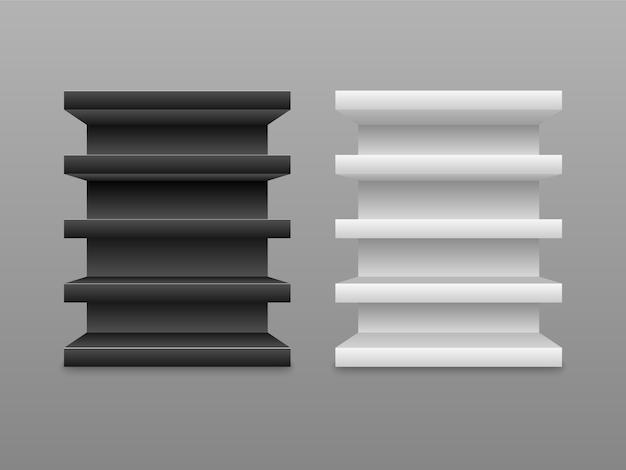 Estantes vacíos en blanco y negro aislados sobre fondo gris