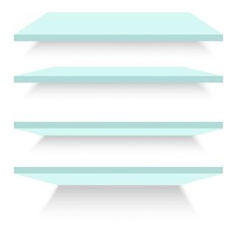 Estantes de vidrio vacíos aislados contra una pared. ilustración vectorial