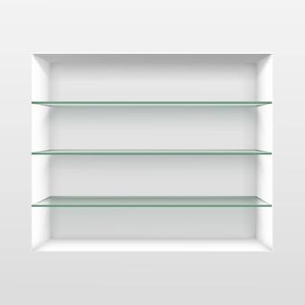 Estantes de vidrio vacíos estantes aislados sobre fondo de pared