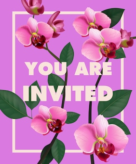 Estás invitado letras con orquídea rosada sobre fondo morado.