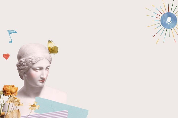 Estatua de la diosa griega frontera estética técnica mixta