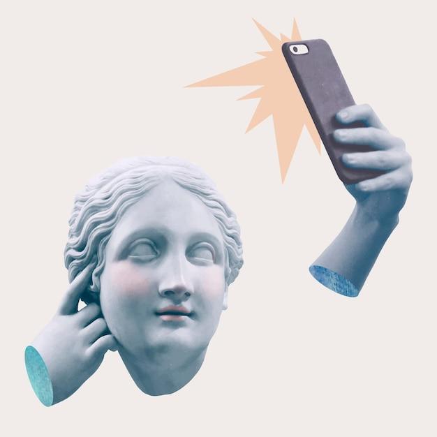 Estatua de la diosa griega selfie adicción a las redes sociales técnicas mixtas