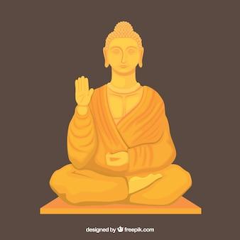 Estatua dorada de buda con diseño plano