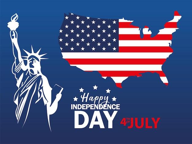 Estatua de la libertad y la bandera del día de la independencia americana