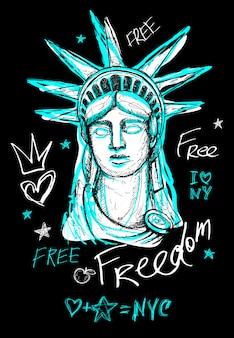 Estatua de la libertad de la ciudad de nueva york, libertad, póster, camiseta, letras de estilo boceto, trazo de pincel seco de moda, marcador, bolígrafo de color, tinta américa, ee. uu. doodle ilustración dibujada a mano.