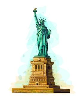 Estatua de la libertad dibujada a mano sobre un fondo blanco. ilustración