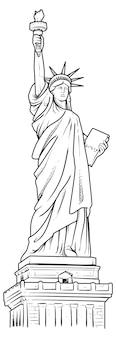 La estatua de la libertad dibujado a mano ilustración vectorial