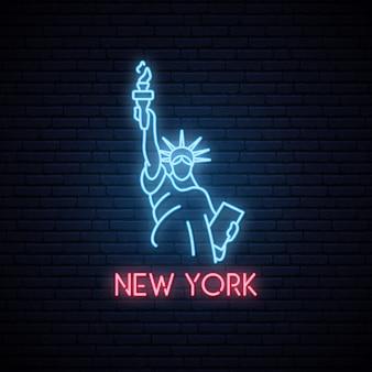Estatua de la libertad letrero de neón.
