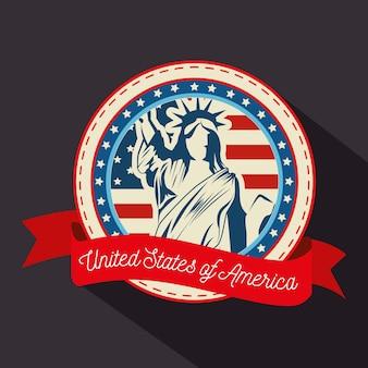 Estatua de la libertad, silueta, bandera americana y cinta