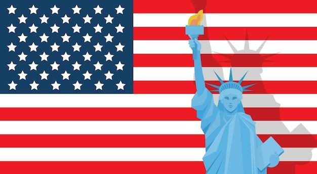 Estatua de la libertad sobre la bandera de estados unidos
