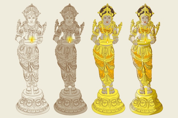 Estatua ornamental tradicional de mujer de pie con lámpara en la mano