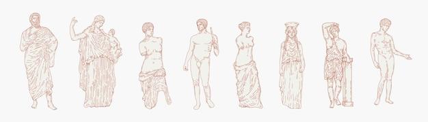 Estatuas de mármol griego estético conjunto de ilustraciones dibujadas a mano. esculturas de cuerpo humano y elementos arquitectónicos. dioses griegos y mitología, elementos de diseño gráfico de la antigua grecia.