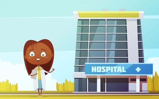 Estatuilla abstracta delgada linda del doctor de sexo femenino en el vector plano de la historieta del fondo del edificio del hospital de ciudad
