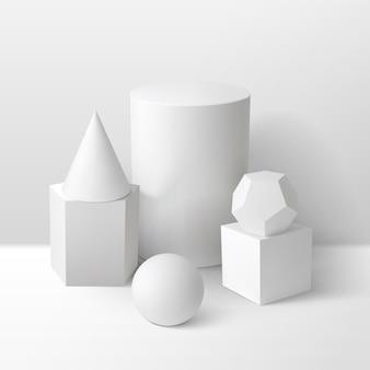 La estereometría básica da forma a la composición monocromática incluyendo cubo, cilindro, esfera, prisma, cono y dodecaedro